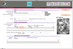 Eingabemaske für Stammdaten, also Artikel, Dienstleistungen, Projekte usw., also alles, was man abrechnen könnte.