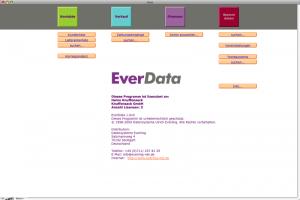 Hier sieht man die Startmaske, oben erkennt man die (farblich gekennzeichneten) Module des Programms: Kontakte, Verkauf, Finanzen, Stammdaten.